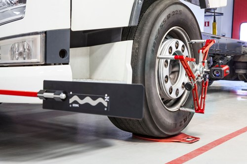 JOSAM Cam-aligner to reduce tyrewear through truck tyre misalignment